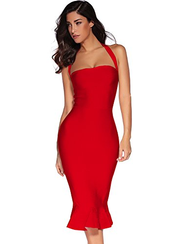 Meilun Womens Rayon Halter Fishtail Bandage Party Dress (S, Red)