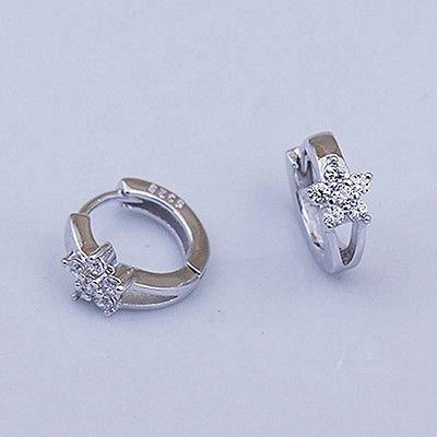 Smile Crytal - 1Pair Ladies 925 Solid sterling Silver Zircon snowflake Ear stud Earrings New (Solid Zircon Ring)