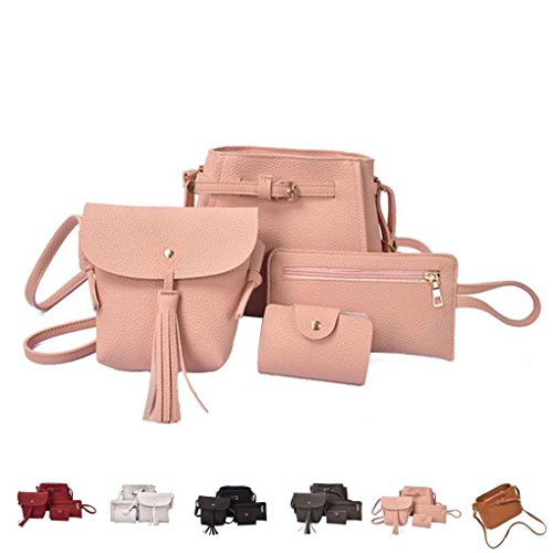 Chilie 4pcs / set Bolsas compuestas de cubo de las mujeres Solid Pu Leather Small Messenger Bags Purse Wallet Set marrón amarillento vino rojo