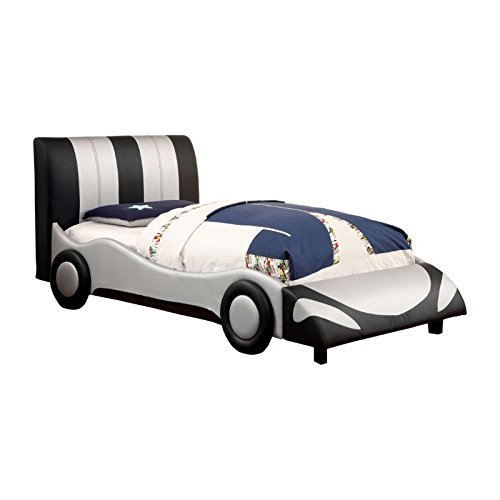 Furniture of America Hamlin Full Race Car Bed in Black and Silver by Furniture of America