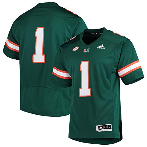 adidas Miami Hurricanes Premier Football Jersey with Acc Patch (Large, Green)