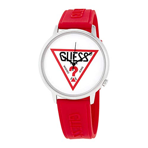 GUESS Originals Silver-Tone and Red Logo Watch