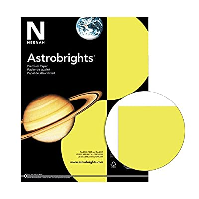 "Astrobrights Premium Color Paper, 8-1/2"" x 11"", Lift-Off Lemon, 24/60 lb., Smooth finish, Pack of 500"