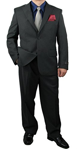 Triple Blessings Sharp 2pc Men's 2B. Dress Suit Expandable Waistband Wool Feel - Charcoal Grey 38S -