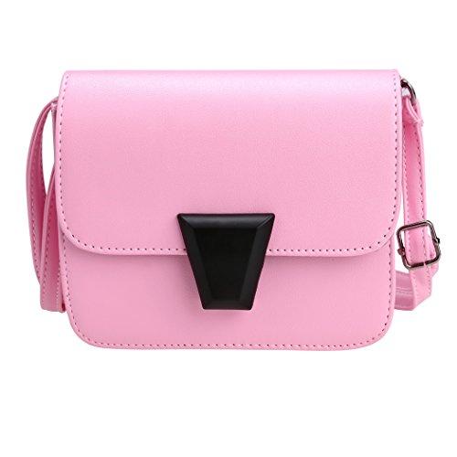 All4you Cuero Mano Rosa Pu Bags Cuerpo Sólido Cruz pink Moda Mujeres Hombro Pequeño De Bolso x1wqFF