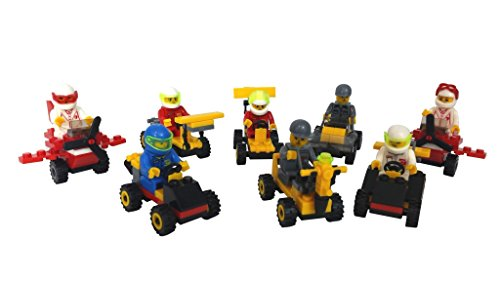 Building Brick Vehicles with Minifigures (Set of 8) for Party Favors, Gifts, Cake Decorations, Cupcake Toppers, or Just to Build for Fun!