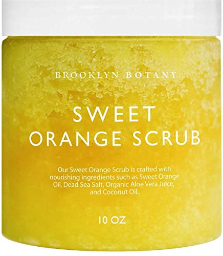 Brooklyn Botany 100% Natural Sweet Orange Summer Body Scrub and Hand Scrub - Exfoliates, Moisturizes, and Nourishes - Cleans Pores for Smoother & Softer Skin - Cellulite Removal - 10 oz