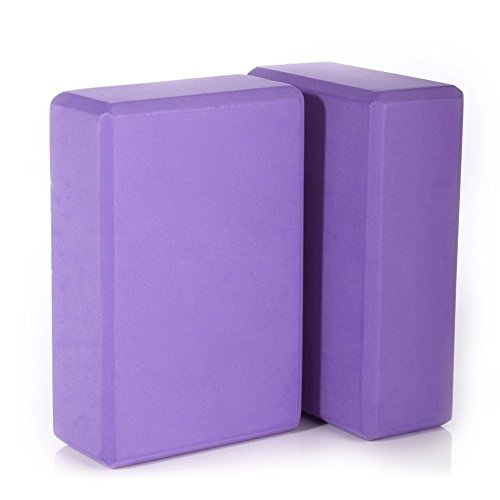 Evaline Gym Exercise Fitness Yoga Props Block Foam Brick Trainer Sport Tool Set of 2 (Purple)