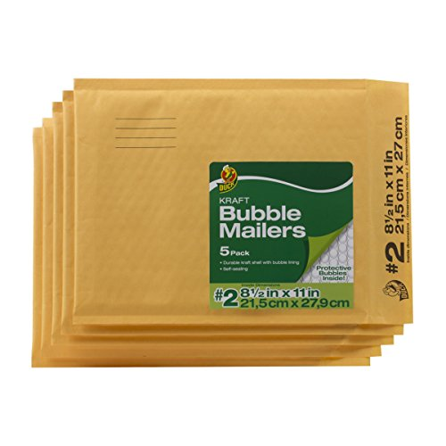 (Duck Brand Kraft Bubble Mailers, 2-8.5 x 11 Inches, 5-Pack (284692))