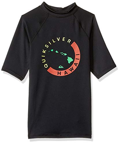 Quiksilver Little Boys' KONA Short Sleeve Youth RASHGAURD UPF 50+ Sun Protection, Black, XS/8