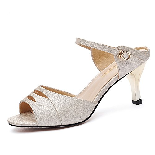 Heel 40 uk5 Para Tamaño color Toe Eu38 Chunky Antidérapant 1002 18 1002 cn38 Fei Open Chanclas Casual Comfort Pu Dress Sandalias De Zapatos Mujer 5 Años Summer qzxCa7