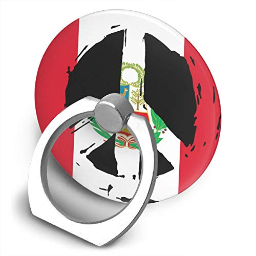 Peru Flag Peace Universal Ring Buckle Phone Stand/Holder - 360° Rotating Metal Mount Finger Grip Kickstand All Phones Tablets