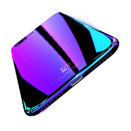 Apple iPhone 7 / iPhone 8 Case, FLOVEME Luxury Slim Fit Gradual Colorful Gradient Change Color Ultra Thin Lightweight Electroplating Bumper Anti-Drop Clear Hard Back Cover Holder, Transparent - Transparent Purple