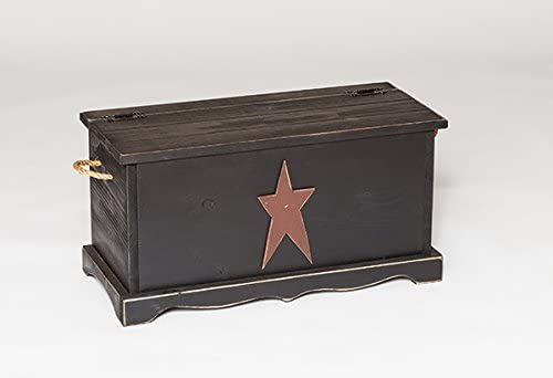 Furniture Barn USA Primitive Rustic Country Storage Chest with Star-Black