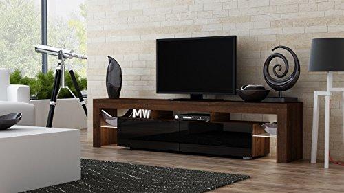 Tv stand milano 200 walnut line modern led tv cabinet - Walnut and black gloss living room furniture ...
