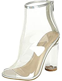 Forever Clear-24 Clear Translucent Transparent Lace Up Peep Toe Ankle Bootie W Perspex Block Heel