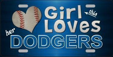 Smart Blonde LP-8078 This Girl Loves Her Dodgers Novelty Metal License Plate