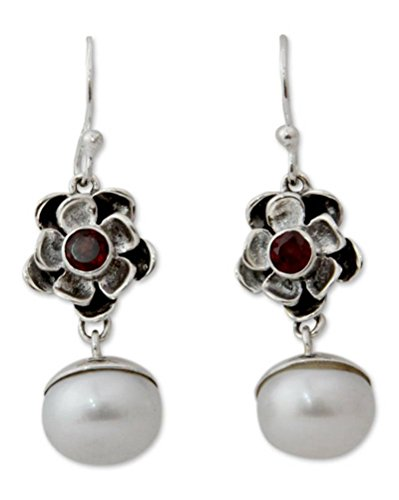 NOVICA Garnet Cream Cultured Freshwater Pearl .925 Sterling Silver Dangle Earrings 'Mumbai Bloom'
