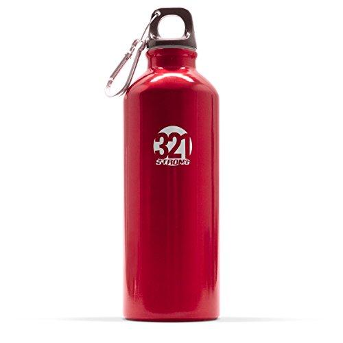 321 STRONG 500 mL (16.9 Fluid Ounce) Aluminum Water Bottle, Metallic Red]()