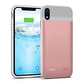 Lonlif Battery Case for iPhone XR, 5000mAh Portable Protective Charging Case, Extended Rechargeable Battery Pack Charger Case Compatible with iPhone XR (6.1 inch) (Rose Gold)