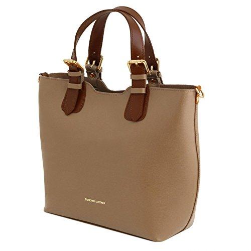 Tuscany Leather TL Bag Borsa a mano in pelle Saffiano - TL141696 (Cognac) Caramello