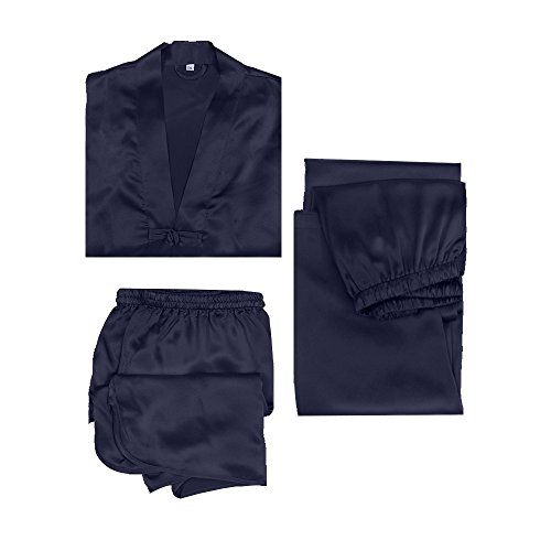 LILYSILK Silk Pajamas for Men 3 pcs Set 22 momme Contrast Trimmed Nightwear Navy Blue 38/M by LilySilk