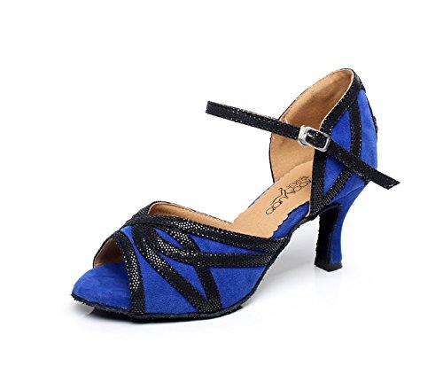 JSHOE Cristaux De Femmes étincelant Satin Latin Salsa Chaussures De Danse Tango/Thé/Samba/Moderne/Jazz Chaussures Sandales Talons Hauts,Blue-heeled10cm-UK4/EU35/Our36