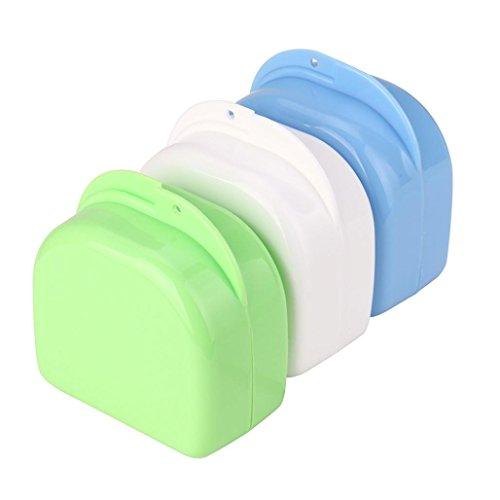 OVERMAL Denture Bath Appliance False Teeth Box Storage Case Rinsing Basket, Color Random