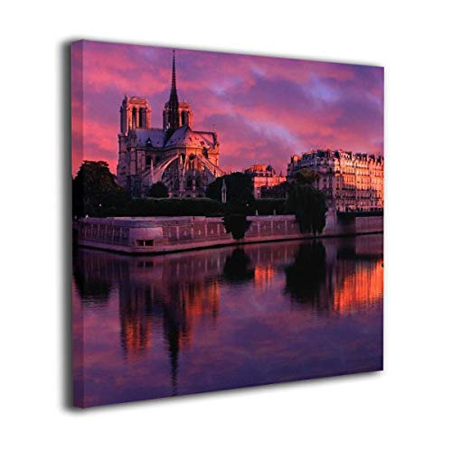 Square Art Canvas,Artwork Paintings, Notre Dame De Paris Art Wall Decor,Frameless Picture for Living Office Home 20