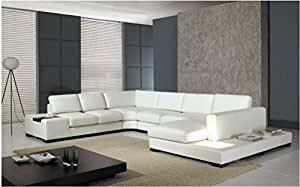 T35 - WHITE LEATHER SECTIONAL SOFA WITH LIGHT