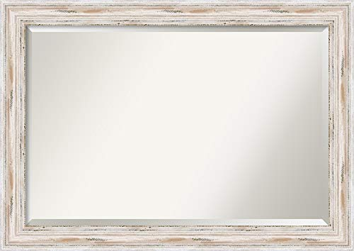 Amanti Art Framed Mirrors for Wall | Alexandria White Wash Mirror for Wall | Solid Wood Wall Mirrors | Large Wall Mirror 41.12 x 29.12 (For Living Room Mirrors)