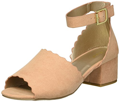 Qupid Women's Low Chunky Heel Heeled Sandal, Blush, 6.5 M US ()