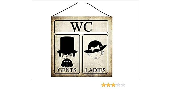 Cartel para Puerta, Brillante y Resistente a los arañazos, para Inodoro WC Decorativo, de Madera, para Hombre y Mujer