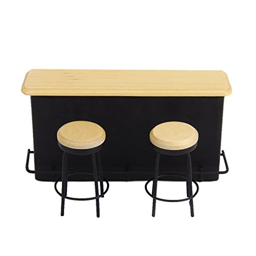 TOOGOO(R) 1/12 table de meuble miniatures et 2 chaises