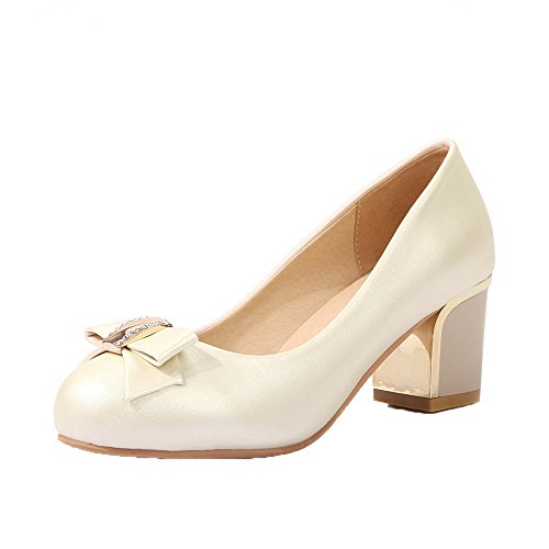 Odomolor Women's Round-Toe Kitten-Heels PU Solid Pull-On Pumps-Shoes, Beige, 41