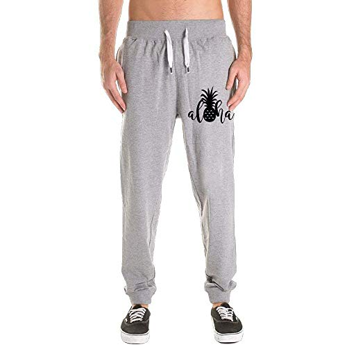 Aloha Pants - An Ping Mens Hawaii Pineapple Aloha Leisure Sports with Pockets Sweatpants