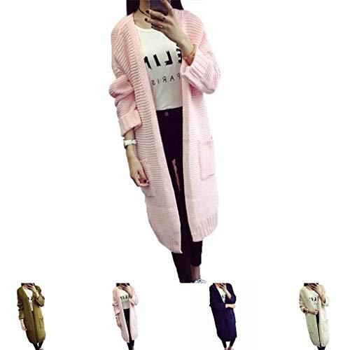 Ouvert Femme Bouffant Manches Manche Chunky Hiver Uni Loisir Tricot En Outerwear Rose Vintage Vêtements Fashion Chic Pullover Élégant D'extérieur Exquis Long Manteau Manteaux Automne Fille Mode EHfwqWa