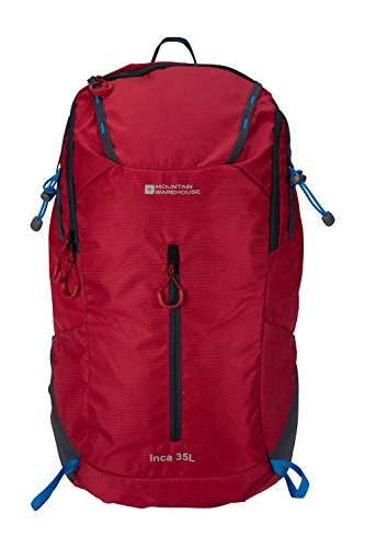 Mountain Warehouse Inca Extreme 35L Rucksack - Travel Backpack Red by Mountain Warehouse
