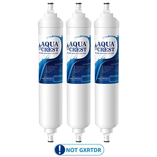 AQUA CREST GXRTQR Inline Water Filter, Carbon Block Media Ensures 99% Chlorine Reduction, Replacement for GE GXRTQR, GXRTQ System, Also Removes Heavy Metals and More (Pack of 3, Package May Vary)