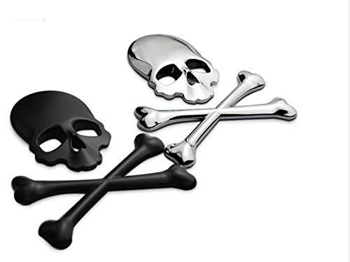 (3D Chrome Bone Black and Silver Metal Skull Emblem Sticker Decal Logo Fender Hood Car Motorcycle,Pack of 2)