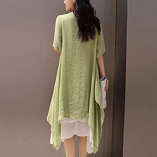 ad donna Linea Vest Festa corta vestire Casual Cardigan ogni Manica Pulsante Rawdah A vestitini estivi vestito Verde Gonne Signora da donna 0ZXXgqx8