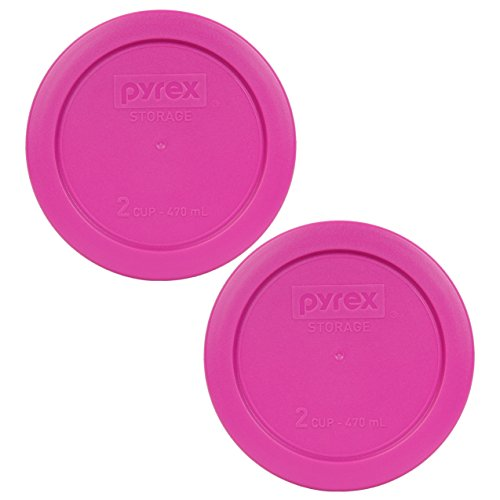 Pyrex 7200-PC Round 2 Cup Storage Lid for Glass Bowls (2, Pink)