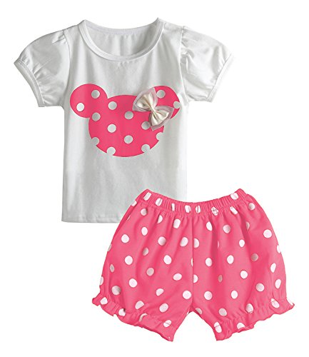 Cute Toddler Baby Girls Clothes Set Long Sleeve T-Shirt and Pants Kids 2pcs Outfits (Z-Pink, 6M) ()