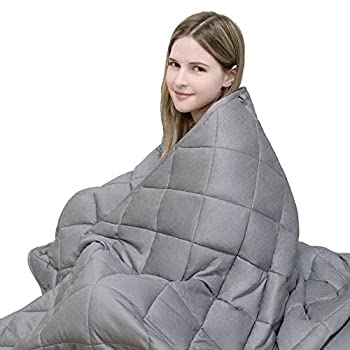 Image of YOLIPULI Weighted Blanket Adult 20 lbs, Queen Size, 60' x 80' Cozy Heavy Blanket, 100% Natural Cotton with Premium Glass Beads, Grey YOLIPULI B085W2RH5D Weighted Blankets