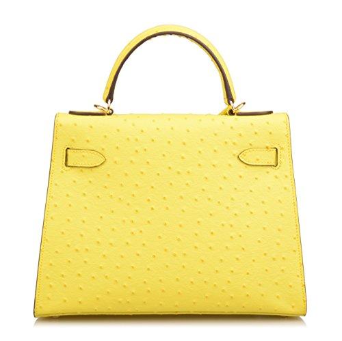 Embossed Handbag Ainifeel Genuine Leather Purse Bag Women's Shoulder Padlock Hobo Ostrich Yellow 86w6BxF