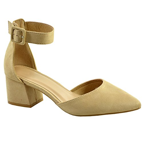 Cucu Fashion New Womens Ladies Ankle Strap Block Heel Court Pumps Pointed Shoes Size UK Beige 62Ky6