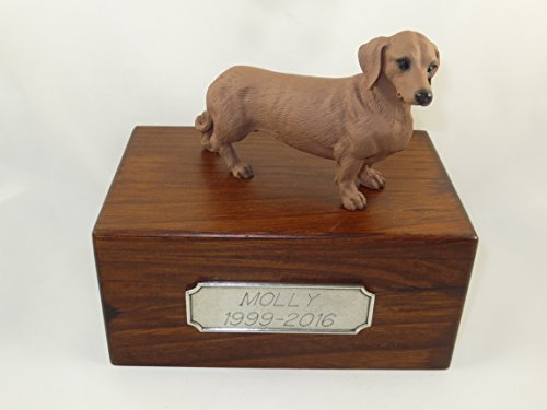 Beautiful Paulownia Small Wooden Urn with Red Dachshund Figurine & Personalized Pewter Engraving ()