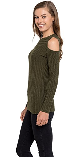 2c9b9efdac Velucci Womens Cold Shoulder Knitted Top - Long Sleeve Pullover Sweater at  Amazon Women s Clothing store