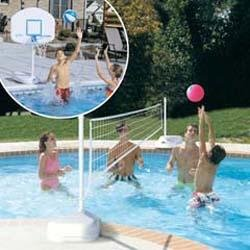 Dunn Rite H2O Hoops Poolside Basketball and Volleyball Game Set ()