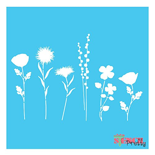 Flower Stencil (Flower stems stencil - scrapbook and vintage decor (Large- 15
